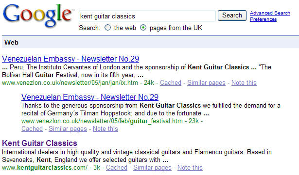Kent Guitar Classics UK search