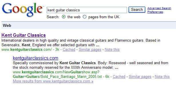 Kent Guitar Classics web search